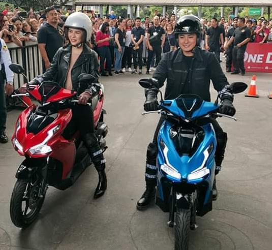 Coco Martin and Yassi Pressman Ride Honda Philippines Latest Airblade 150